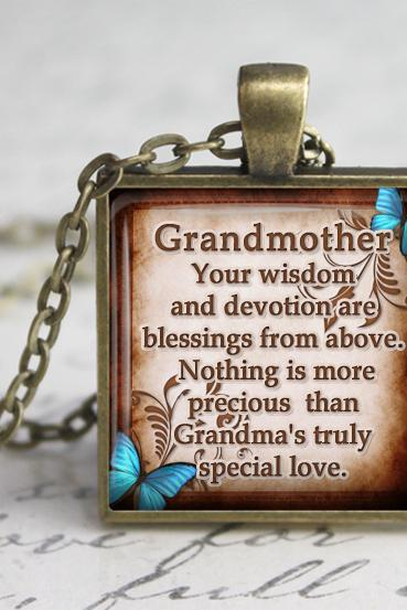 Grandmother Glass Pendant, Grandma Inspirational Glass Pendant,Grandma Quotes Necklace,Gift for grandma, Blue Butterfly Pendant.