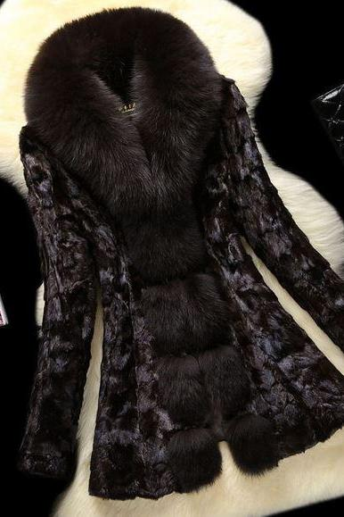 Free Shipping Genuine Mink Hair and Genuine Fox Fur Coat-Free Shipping
