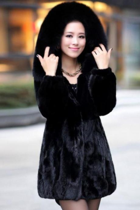 Black Mink Hair Fur Coat and Jacket
