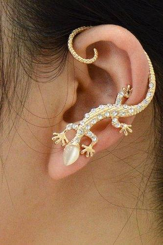 Fashion Punk Rock 16k Gold Plated Animal Lizard Ear Cuff Ears Wraps Stud Earrings 1 Piece for Left Ear