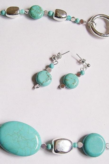 Blue Turquoise Handmade Necklace & Earring Set