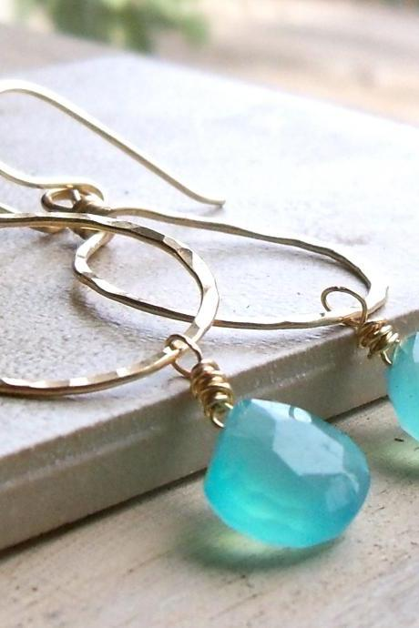 Hammered Brass Hoop Earrings with Aqua Chalcedony Drops
