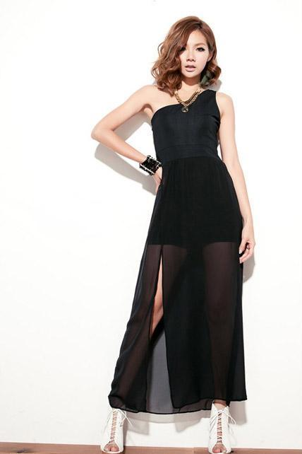 Vogue One Shoulder Sleeveless Black Chiffon Maxi Dress