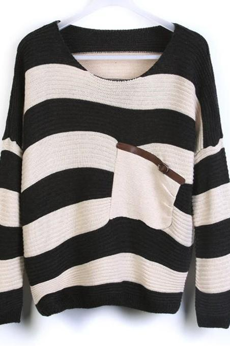 Green Stripe Bat Sleeve Sweater