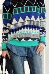 Blue Loose Geometric Patterns Sweater
