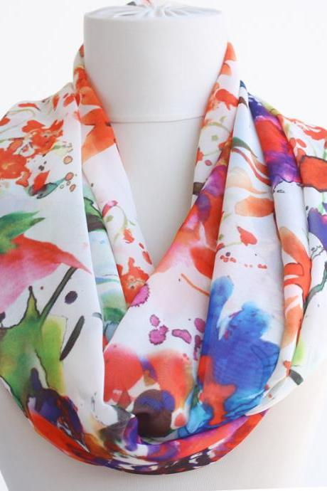 Spring scarf floral infinity scarf snood tube scarf abstract watercolor scarf