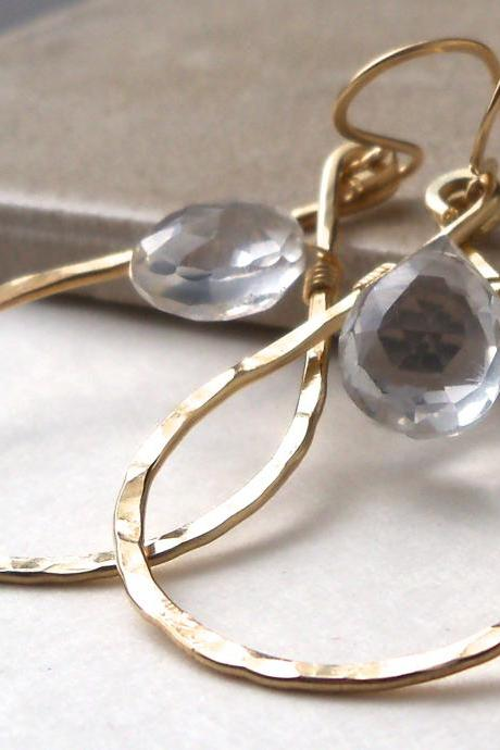 Hammered Brass Teardrop Hoop Earrings with Crystal Quartz Drops