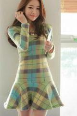 Cute Spring Dresses Plaid Slim Sweater Dress