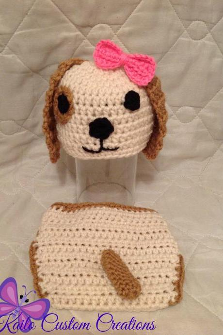 Newborn 0-3 months BOY or GIRL puppy dog hat and diaper cover photo prop