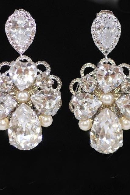 Wedding Earrings, Bridesmaid Earrings, Bridal Jewelry - Vintage Earring with Swarovski Crystal Teardrop Earring Post (E223)