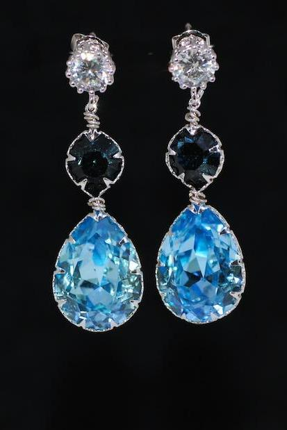 Round Cubic Zirconia Earring with Swarovski Montana Blue Round, Aquamarine Teardrop Crystals - Wedding Jewelry, Bridal Earrings (E678)