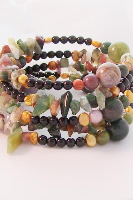 Bracelet, Indian Agate with Fresh Water Pearls