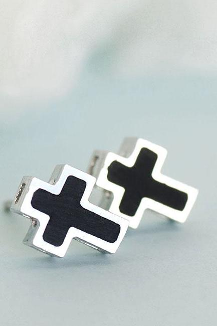 Black Cross Silver Framed Stud Earrings, Kpop Celebrity Inspired, Unisex