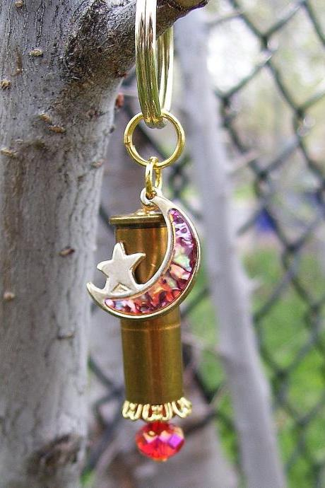 Bullet Key Chain with Moon and Star