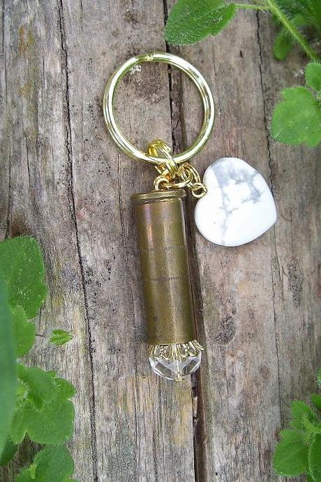 Bullet Key Chain with White Agate