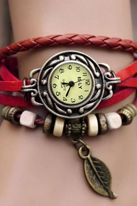 Women's Leather Bracelet Leaf Wrist Watch