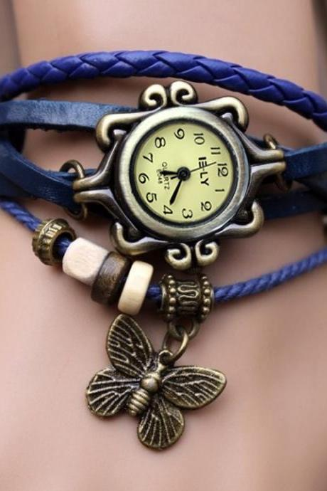 Butterfly Wrap Leather Bracelet Wrist Watch