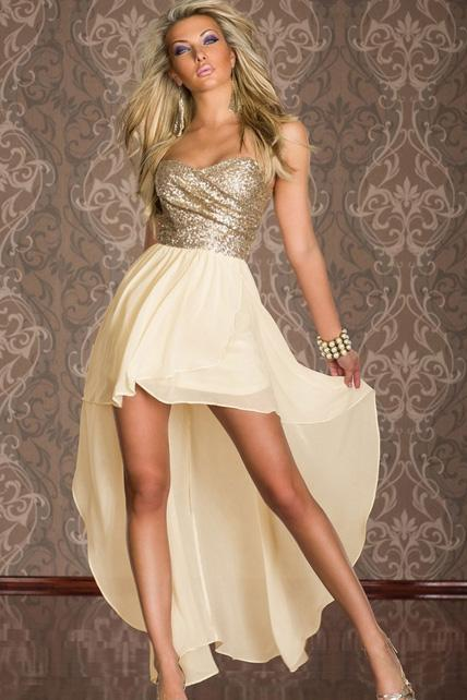 Elegant Color Matching High Low Hem Tube Dress