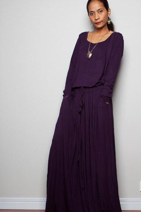 Deep Purple Maxi Dress - Long Sleeve dress