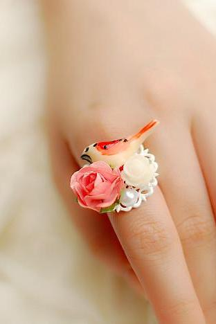 Retro Inspired Kawaii Birds Ring