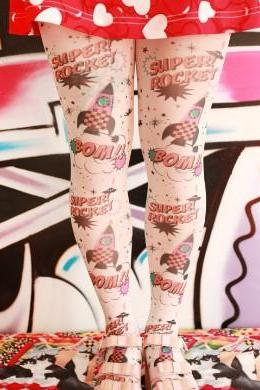 New spring Fall 2014 Harajuku Comics Rocket Space Pantyhose Tights