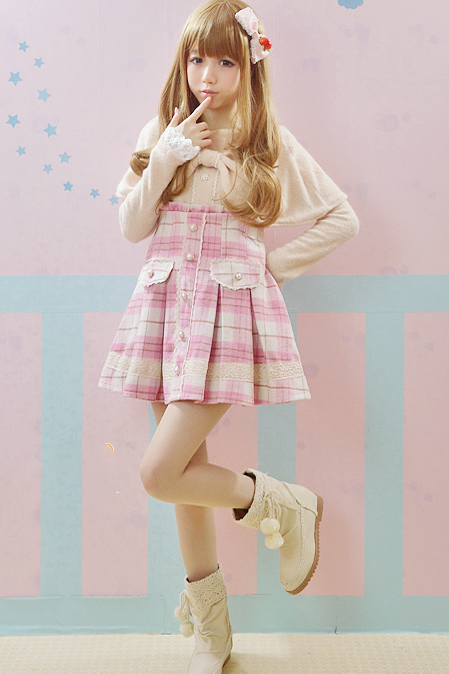 Pink color High Waist Lolita Natural Wool Skirt With Detachable Straps