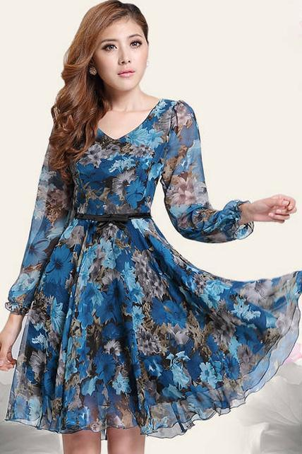 Sexy V Neck Assortment Floral Long Sleeve Dress