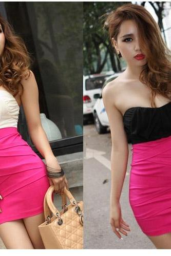 Fashion Sexy Strapless Mini Chiffon Dress for Women