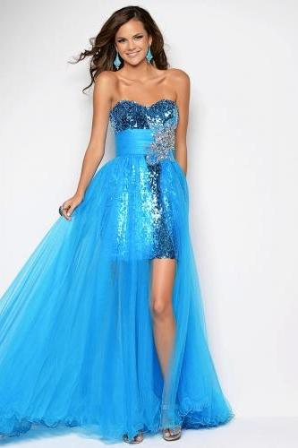 Modern Young Girls Pageant Dresses Sweetheart Sheath Ice Blue Tulle and Sequined Fabric Latest Prom Dresses Gowns