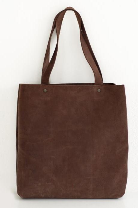 Large Brown Leather Tote Bag - brown leather tote bag - large leather bag - supple brown leather tote