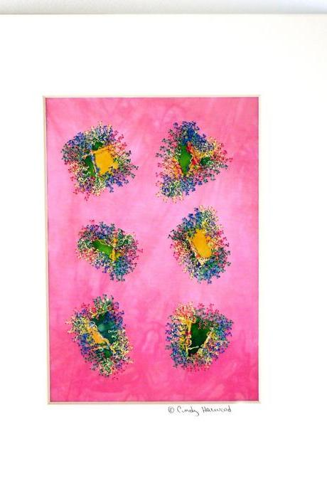 Fiber Art Collage, Quilt, Matted, Framable Art