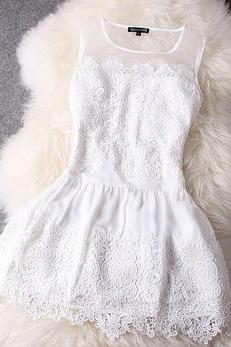 Fashion White Lace Dress