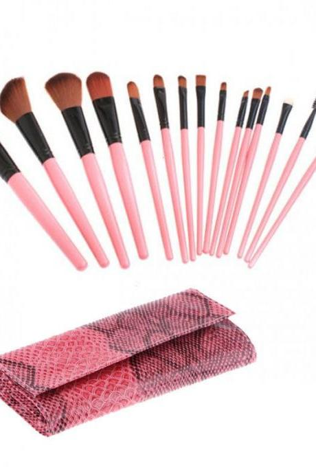 15PCS Professional Cosmetic Make Up Makeup Brushes Brush Set Black Pouch Bag