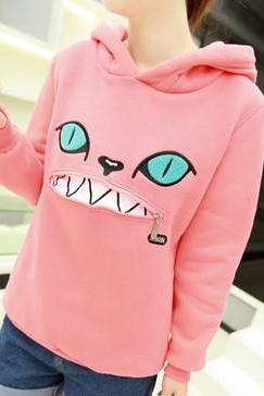 2014-2015 new fashion Hooded Zippered Cat Fleece Sweatshirt Sweater for girl