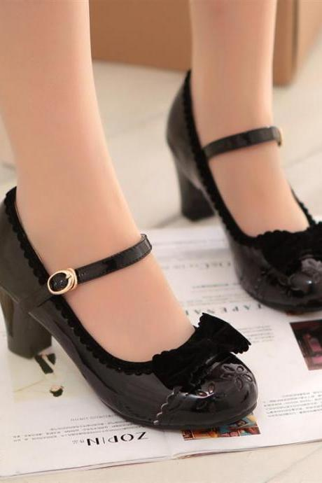 Spring fall 2014 Retro Black Cute Bow Shoes