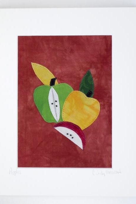Quilt Collage, Fiber Art, Apples, Matted, Frameable 8 x 10