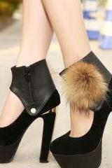 Sexy Black Faux Fur Design Platform High Heel Pumps