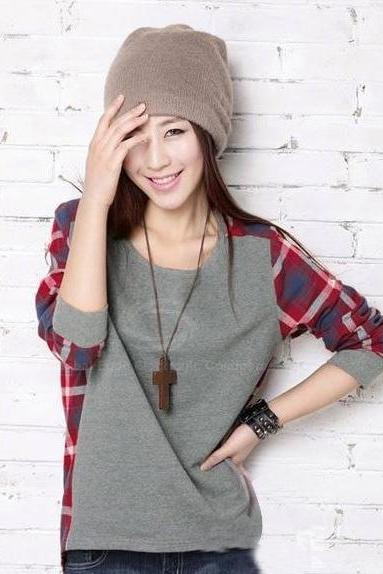 Plaid Splicing Long Sleeves Cotton Blend T-Shirt