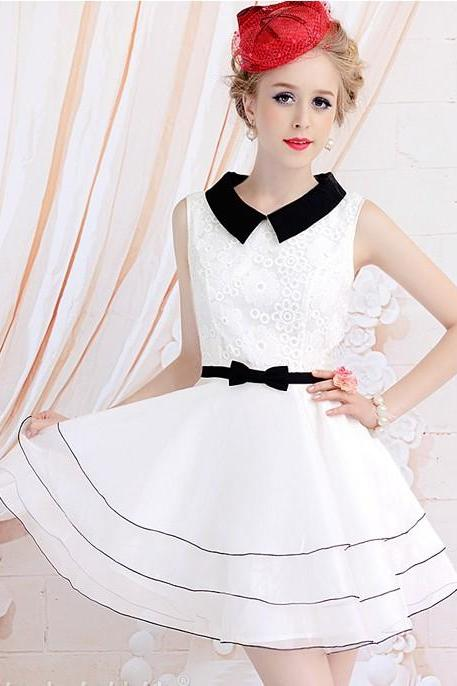Small pure and fresh and pure sleeveless accept waist cultivate one's morality dress
