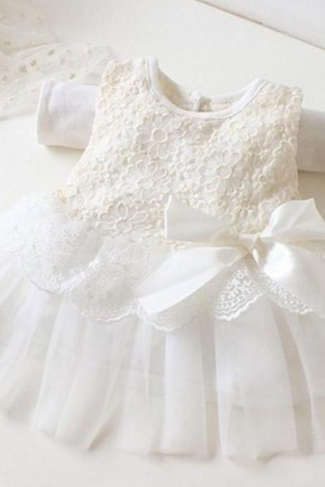 White Dress Wedding Dress for Flower Infant Girls-Princess Dress-Rose Tutu Casual Dress