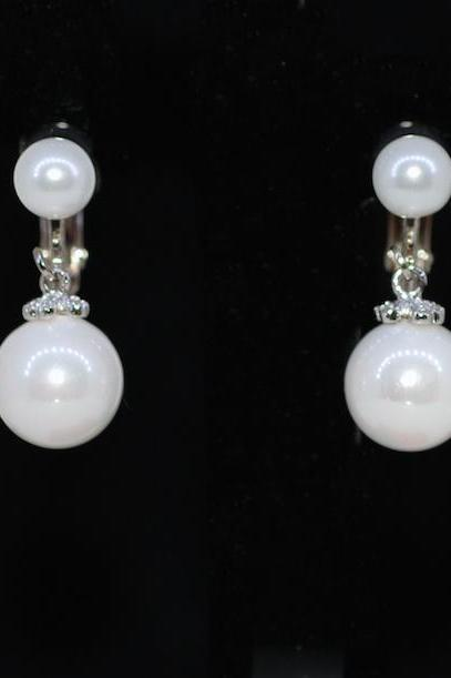 Wedding Earrings, Bridesmaid Earrings, Bridal Jewelry - Clip On Screw Back Round Pearl Earring (E608)