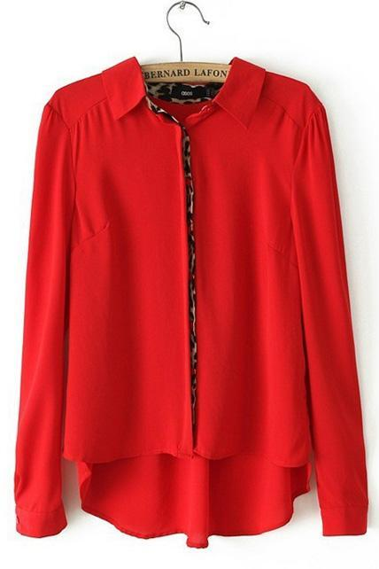 t High Low Hem Chiffon Blouse for Lady - Red