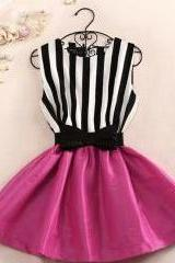Ball Gown Stripe Sleeveless Sweet Bow Butterfly Princess Dress