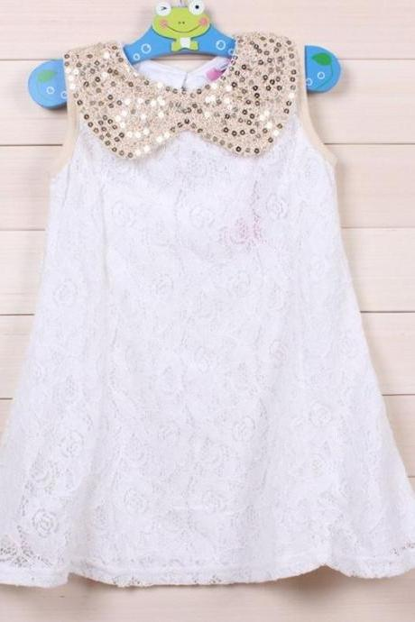 Free Shipping WHITE Dress for Little Girls with Golden Peter Pan Collar-Party Dress