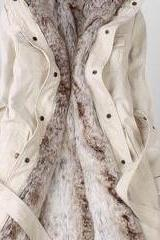 Beige Parka With Faux Fur Inner