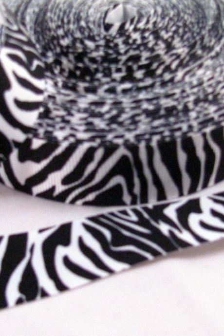 3 Yards 7/8' Zebra Print Ribbon in black & white