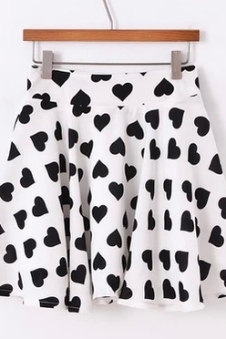 White Chiffon Skater Skirt with Black Heart Prints