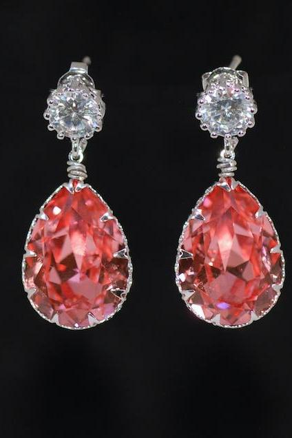 Cubic Zirconia Round Earring with Swarovski Rose Peach Teardrop Crystal - Wedding Jewelry, Bridal Earrings (E683)