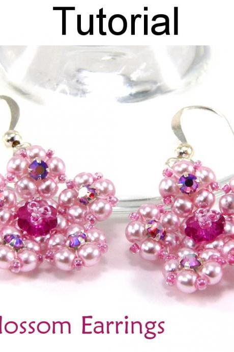 Beading Tutorial Pattern Earrings - Spring Flower Jewelry - Simple Bead Patterns - Cherry Blossom Earrings #5226