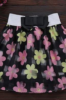 Black Skirt Printed Daisy Flowers Skirts for 6X Girls with Black Bow Stretchable Waistline